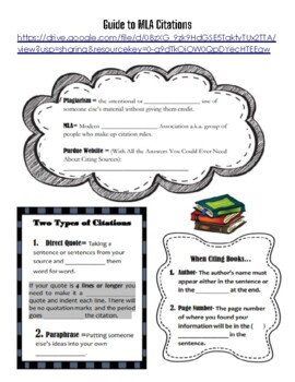 MLA Citations (Guided Notes and Link to Video)