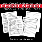 MLA Citations - Works Cited Cheat Sheet for Students Editable