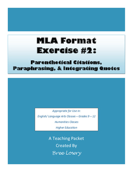 MLA Exercise #2: Parenthetical Citations,... by Bree Lowry ...
