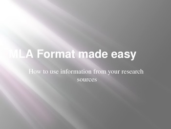 MLA Format Made Easy!