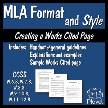 MLA Format and Style: Handouts and Sample... by Simply Novel ...