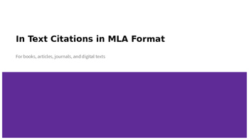 MLA In Text Citations Powerpoint