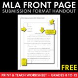 MLA Paper Formatting – FREE Handout to Model M.L.A. Front
