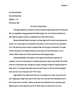MLA Sample Formatting Research Paper