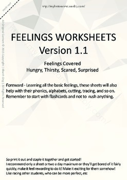 MLD - Basic Feeling Worksheets - Part 3 - A4 Sized