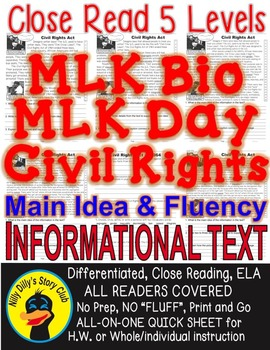 MLK Day, MLK Bio, & Civil Rights Acts 5 Levels 3 Info Text