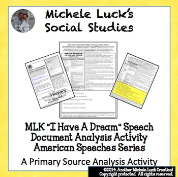 MLK I Have A Dream Speech American Speeches Document Analy