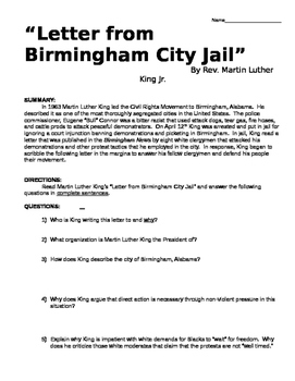 Martin Luther King Letter from a Birmingham Jail DBQ & Pri
