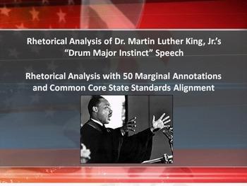 """MLK's """"Drum Major Instinct"""" Speech Common Core Rhetorical"""