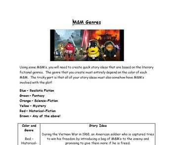 M&M Genres!  Creative Writing Activity