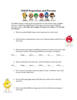 M&M Proportions and Percentages (DOK 2 & 3)