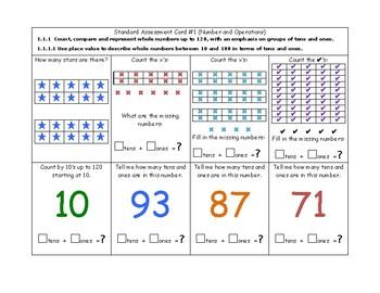 MN Math Standard Assessment Cards for First Grade