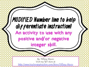"""""""MODIFIED"""" number line for students with special needs"""