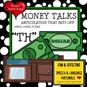 "MONEY WALLET ""CH"" SPEECH THERAPY WORKSHEETS"