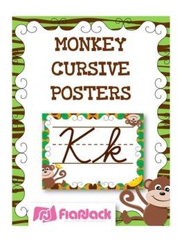 MONKEY Themed Cursive Alphabet Posters