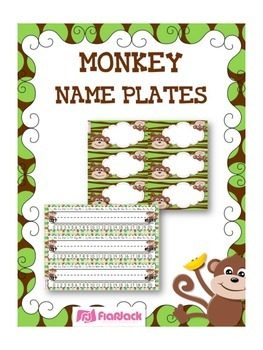 MONKEY Themed Name Tags Plates