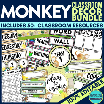 MONKEY THEME Classroom Decor - EDITABLE Clutter-Free Class