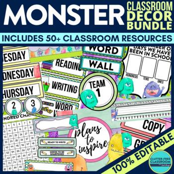 MONSTER THEME Classroom Decor - EDITABLE Clutter-Free Clas