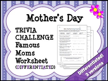 MOTHER'S DAY: Famous Mothers Trivia Challenge Worksheet {D
