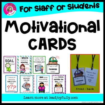 Motivational Cards for Staff or Students!! (PRINCIPALS or