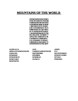 MOUNTAINS OF THE WORLD WORD SEARCH