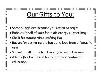 MRS FDK DOYLE IDEAS: Kindergarten Graduation: Gift Poem/Ex