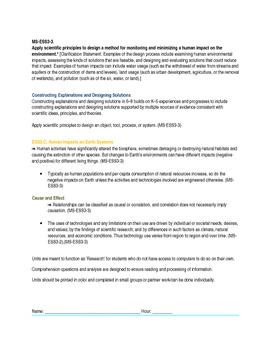 MS-ESS3-3. Design Method Minim Human Impact Revised