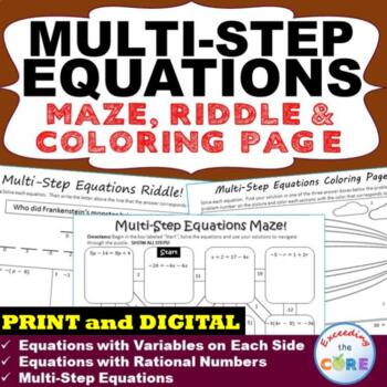 MULTI-STEP EQUATIONS Maze, Riddle, & Coloring Page (Fun MA