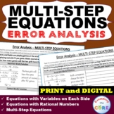 MULTI-STEP EQUATIONS Word Problems -  Error Analysis  (Fin
