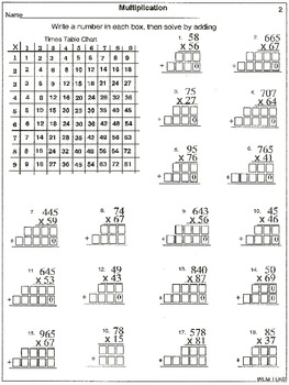 2 Digit X 2 Digit Multiplication Worksheets & worksheet 10001294 2 ...