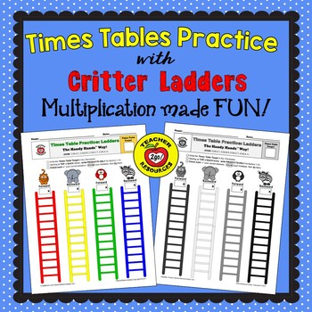 MULTIPLICATION FACT CRITTER LADDERS PRACTICE - The Handy H