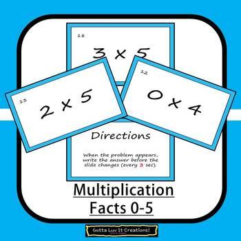 Editable Math Facts Multiplication 0-5 Fluency - 2 PowerPoints