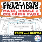 MULTIPLY & DIVIDE FRACTIONS Maze, Riddle & Coloring Page (