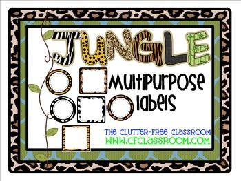 MULTIPURPOSE LABELS / TAGS for a JUNGLE ~ SAFARI CLASSROOM THEME