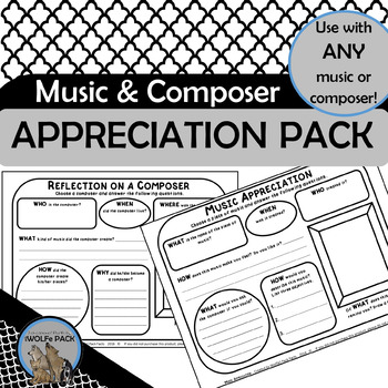 MUSIC APPRECIATION & COMPOSER REFLECTION PACK simple exerc