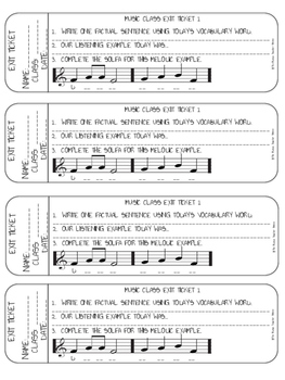 MUSIC CLASS EXIT TICKETS (WITH SOLFA DECODING)