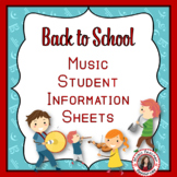 Back to School Music Student Information Sheets