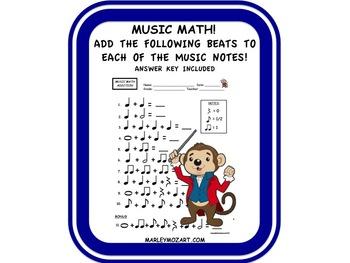 MUSIC MATH -ADDITION WORKSHEET!  NOTE VALUE ASSESSMENT & G