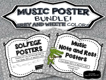 MUSIC POSTER BUNDLE {Grey and White--Solfege and Notes/Rests}