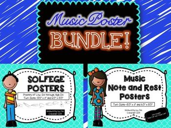 MUSIC POSTER BUNDLE {Seafoam Quatrefoil--Solfege and Notes/Rests}