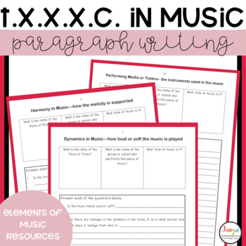 MUSIC- T.X.X.X.C.Paragraph Writing Templates for Music