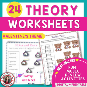 Music Worksheets for Valentine's Day