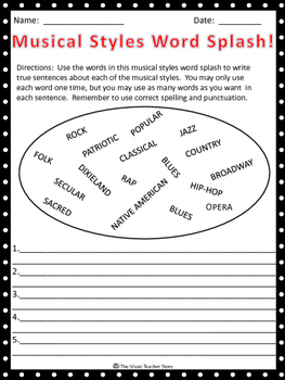 """MUSICAL STYLES WORD SPLASH! GREAT """"BACK TO SCHOOL"""" ACTIVITY!"""