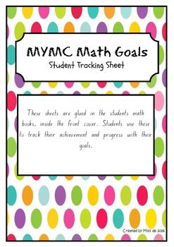 MYMC Math Goals - Student Goal Tracking Sheet