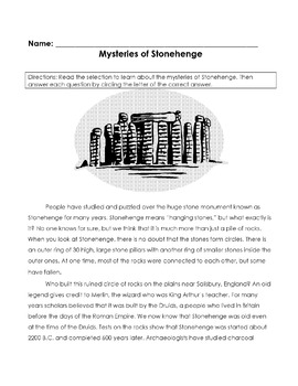 MYSTERIES of STONEHENGE 12 Multiple Choice Make Inferences