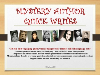 MYSTERY AUTHOR QUICK WRITES, MIDDLE SCHOOL:  Bell Ringers,