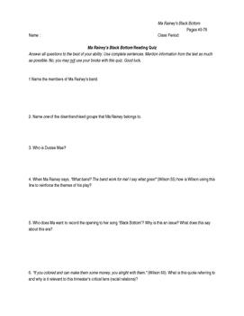 Ma Rainey's Black Bottom pages 40-78 Reading Quiz