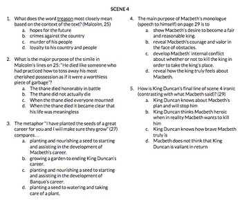 Macbeth Act 1 scene 4 and 5 Regents Questions
