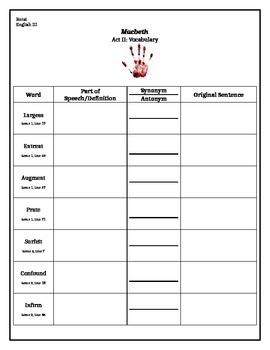 Macbeth Act II Vocabulary Chart