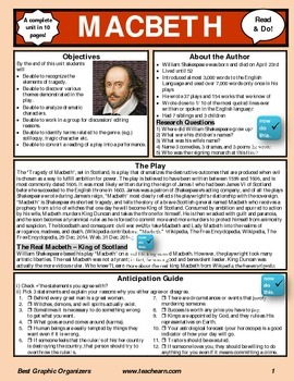 Macbeth Complete Unit Graphic Organizer in 10 pages. Common Core.